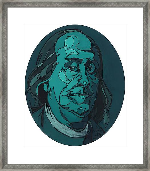 Portrait Of Benjamin Franklin Framed Print