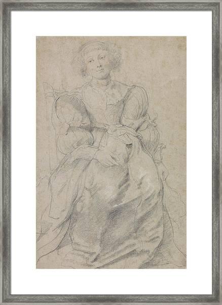 Portrait Of Helene Fourment Framed Print