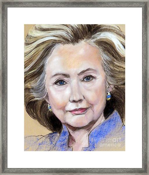 Pastel Portrait Of Hillary Clinton Framed Print