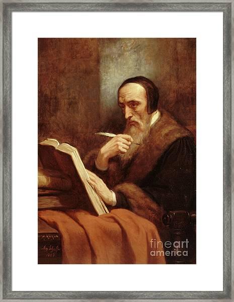 Portrait Of Jean Calvin Framed Print