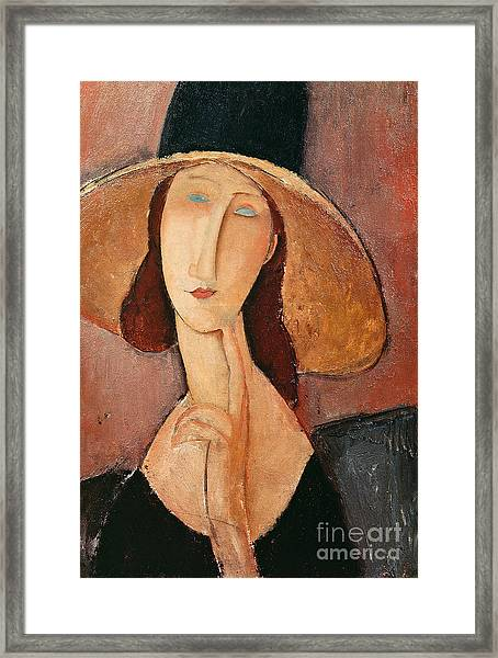 Portrait Of Jeanne Hebuterne In A Large Hat Framed Print