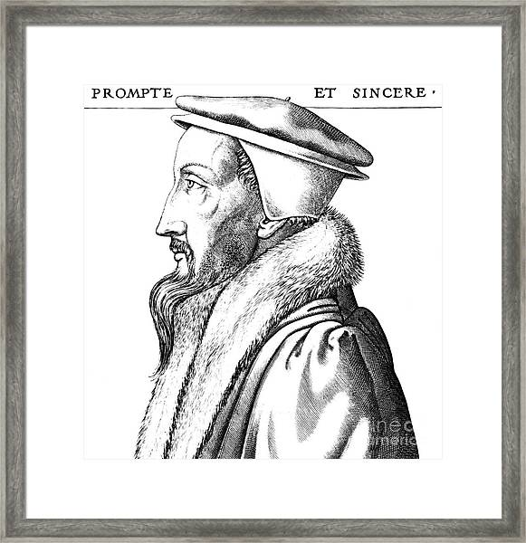 Portrait Of John Calvin Framed Print