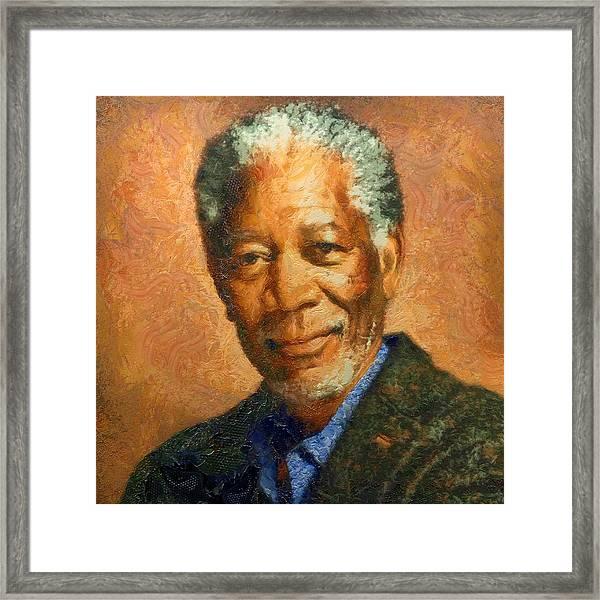 Portrait Of Morgan Freeman Framed Print