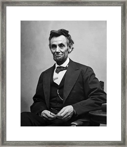Portrait Of President Abraham Lincoln Framed Print