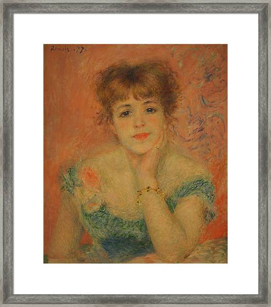 Portrait Of The Actress Jeanne Samary Framed Print by Pierre Auguste Renoir
