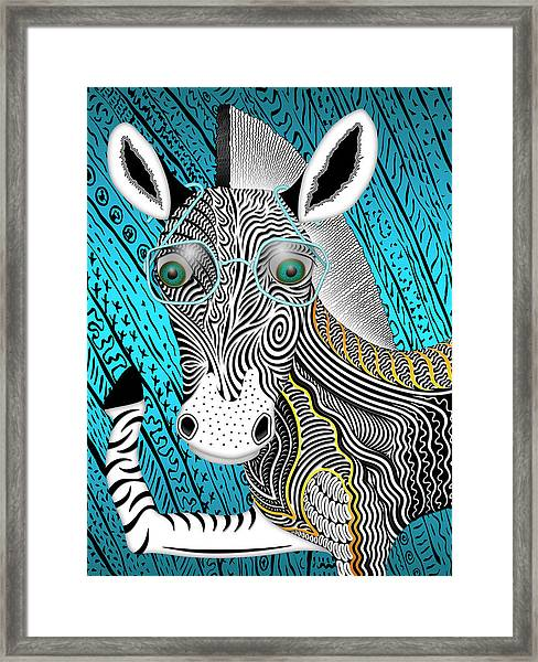 Portrait Of The Artist As A Young Zebra Framed Print