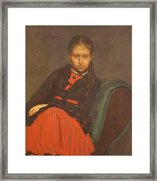 Portrait Of Vera Shevtsova Framed Print by Ilya Repin