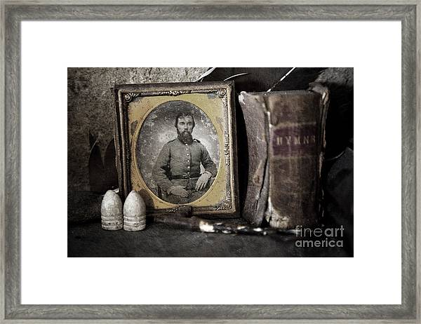 Portrait On The Mantle Framed Print