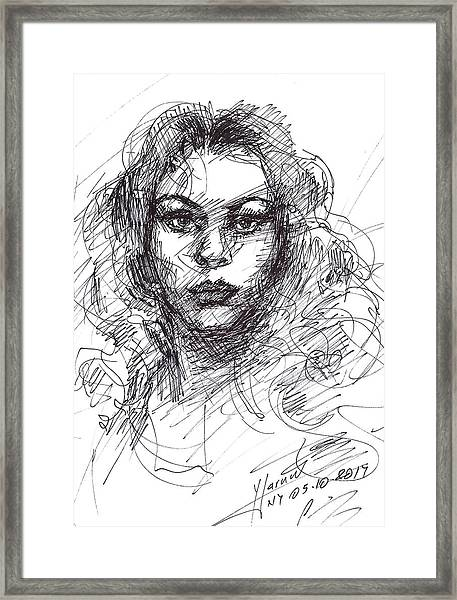 Portrait Sketch  Framed Print