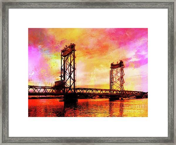 Portsmouth Memorial Bridge Abstract At Sunset Framed Print