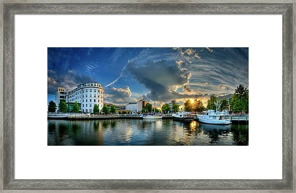 Framed Print featuring the photograph Portsmouth Sunset by Williams-Cairns Photography LLC