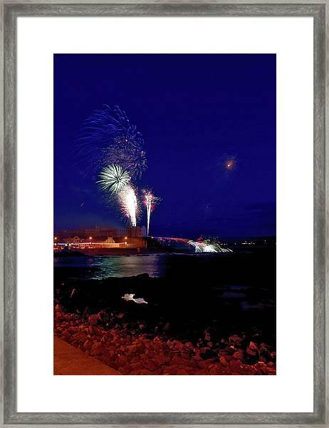 Portstewart Fireworks Framed Print