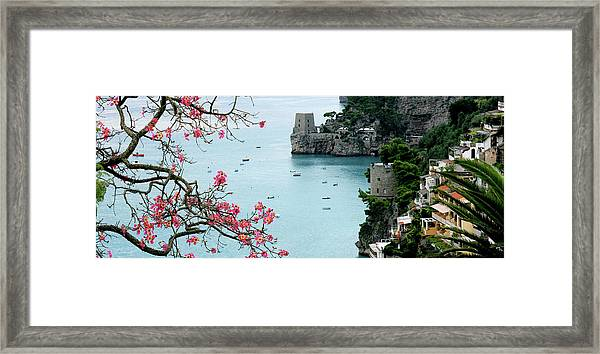 Positano Fortress And Dogwood Framed Print