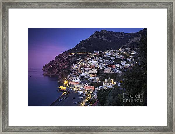 Framed Print featuring the photograph Positano Twilight by Brian Jannsen