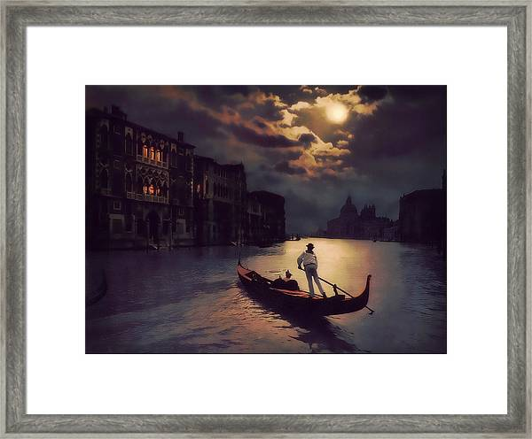 Postcards From Venice - The Red Gondola Framed Print