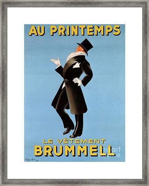 Poster Advertising 'brummel' Clothing For Men At Printemps Department Store, 1936  Framed Print