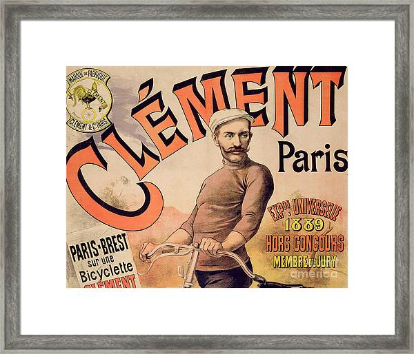 Poster Advertising Clement Bicycles, 1889 Framed Print