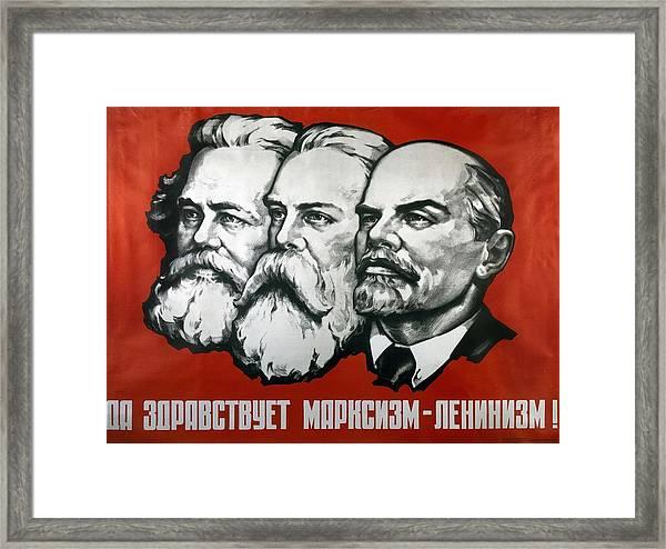 Poster Depicting Karl Marx Friedrich Engels And Lenin Framed Print