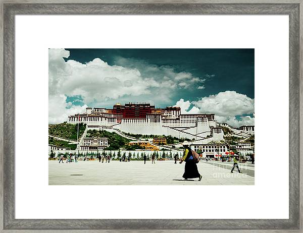 Framed Print featuring the photograph Potala Palace. Lhasa, Tibet. Yantra.lv by Raimond Klavins