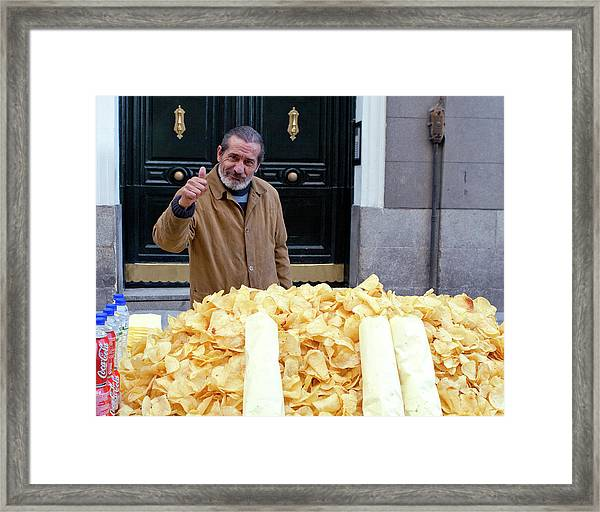 Framed Print featuring the photograph Potato Chip Man by Lorraine Devon Wilke