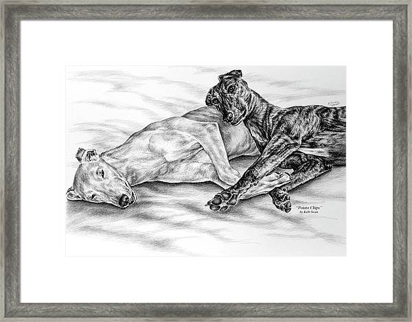 Potato Chips - Two Greyhound Dogs Print Framed Print