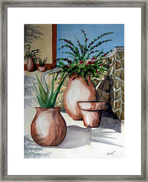 Pots And Bougainvillea Framed Print