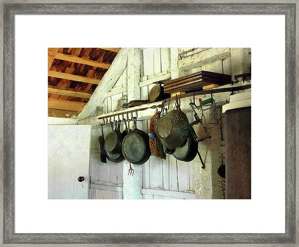 Pots In Kitchen Framed Print