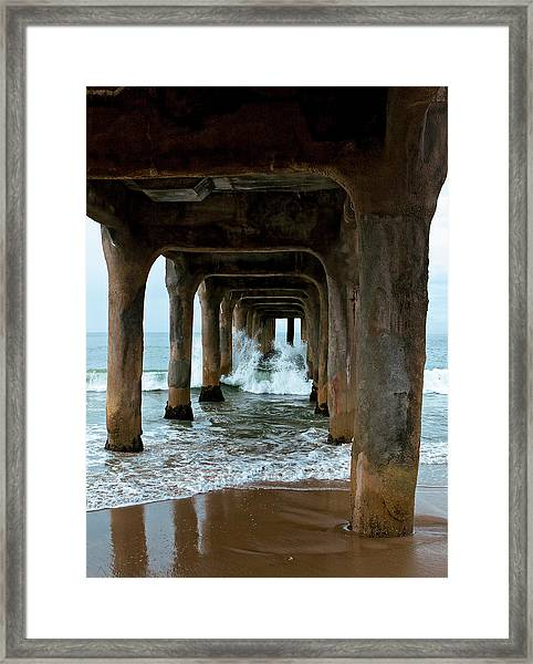 Framed Print featuring the photograph Pounded Pier by Lorraine Devon Wilke