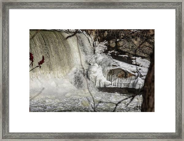 Power Station Falls On Black River  Framed Print