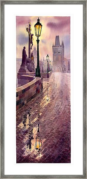Prague Charles Bridge Night Light Framed Print