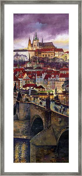 Prague Charles Bridge With The Prague Castle Framed Print