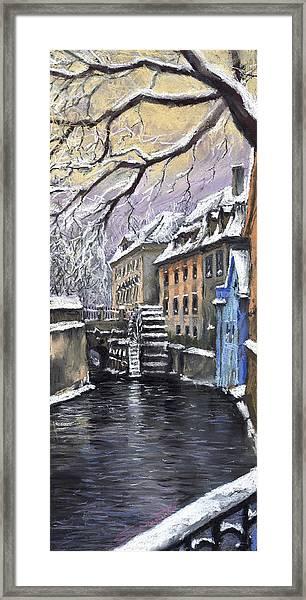 Prague Chertovka Winter Framed Print