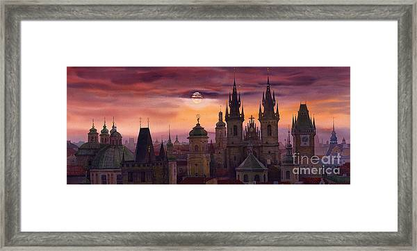 Prague City Of Hundres Spiers Framed Print
