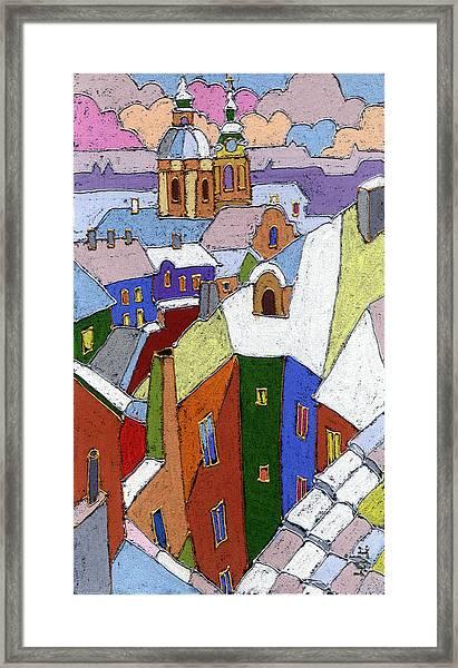 Prague Old Roofs Winter Framed Print
