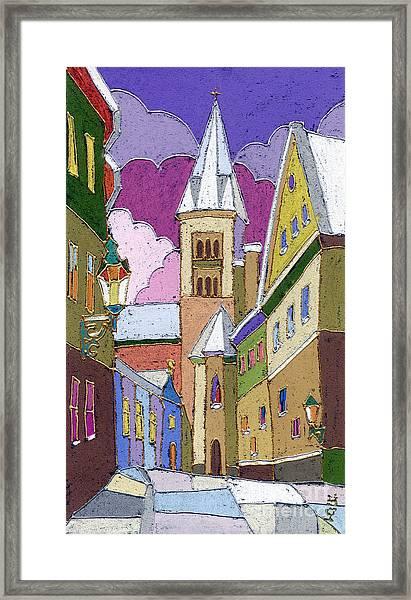 Prague Old Street Jilska Winter Framed Print