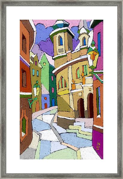Prague Old Street Karlova Winter Framed Print