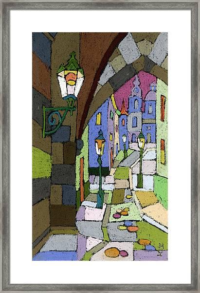 Prague Old Street Mostecka Framed Print
