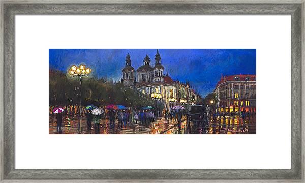 Prague Old Town Square St Nikolas Ch Framed Print