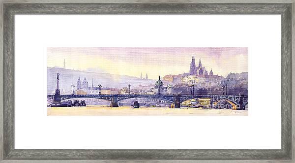 Prague Panorama Chehuv Bridge Framed Print