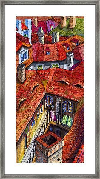 Prague Roofs 01 Framed Print