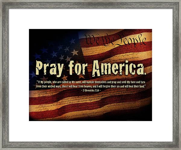 Framed Print featuring the mixed media Pray For America by Shevon Johnson