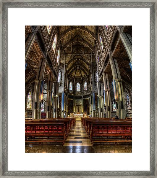 Our Lady Of Nahuel Huapi Cathedral In The Argentine Patagonia Framed Print