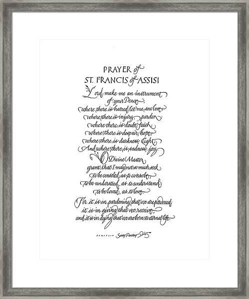Prayer Of St. Francis Of Assisi Framed Print