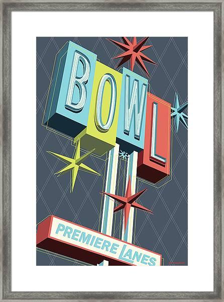 Premiere Lanes Bowling Pop Art Framed Print