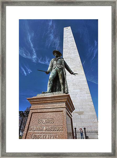 Prescott Statue On Bunker Hill Framed Print