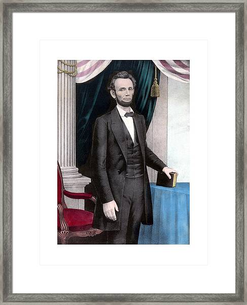 President Abraham Lincoln In Color Framed Print
