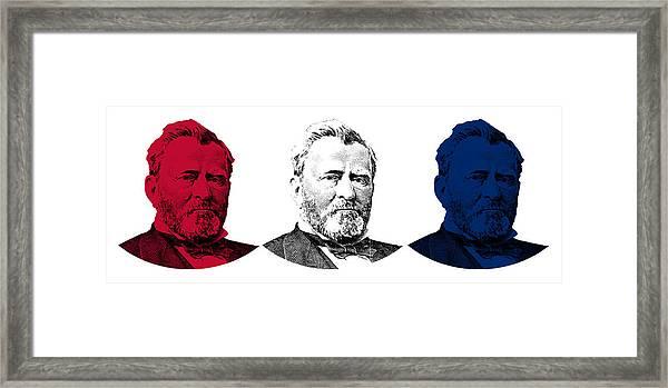 President Grant Red White And Blue Framed Print