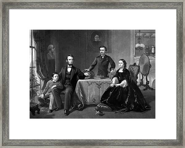 President Lincoln And His Family  Framed Print