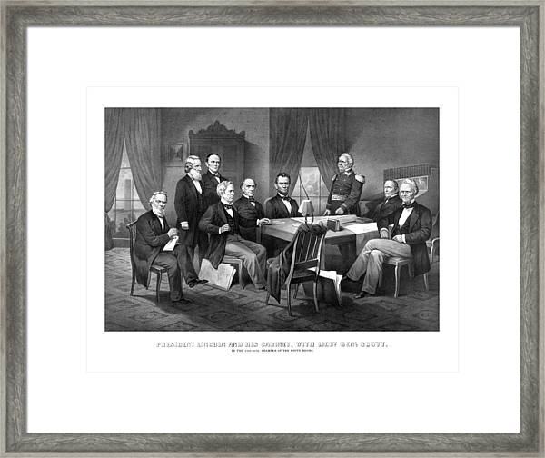 President Lincoln His Cabinet And General Scott Framed Print