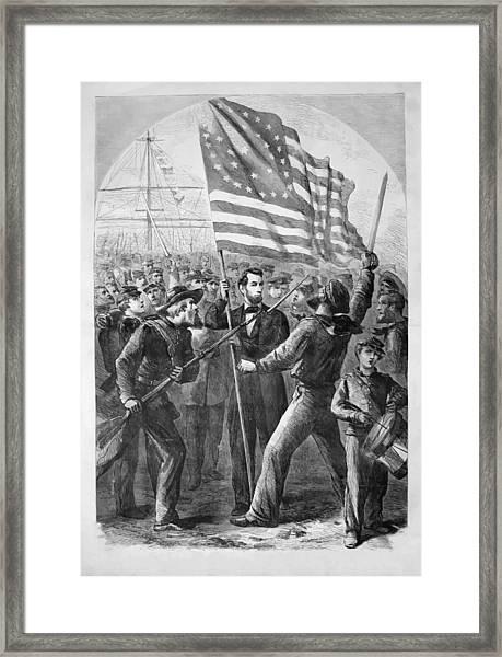 President Lincoln Holding The American Flag Framed Print
